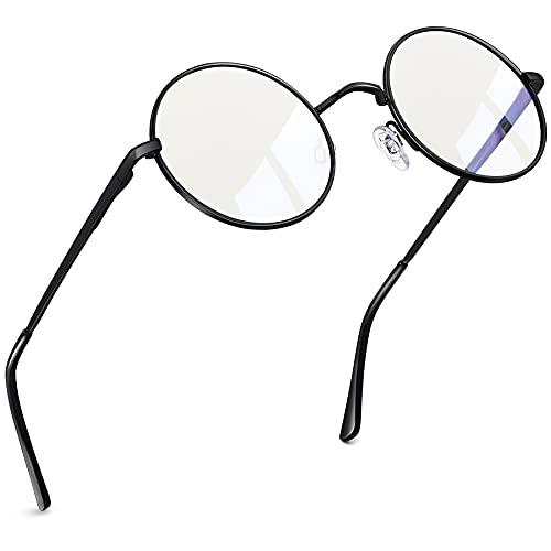 Joopin Lennon Redondo Azul luz Óculos Mulheres Homens, Metal Círculo Azul Luz Bloqueio Óculos Computador Jogos Tevê (Preto)