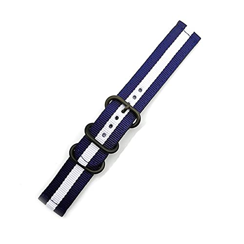 Strap de reloj de liberación rápida para hombres Mujeres Premium Nylon Nylon Watch Band con hebilla inoxidable negra, 20 mm, 22 mm, 24 mm (Band Color : Blue White, Band Width : 24mm)