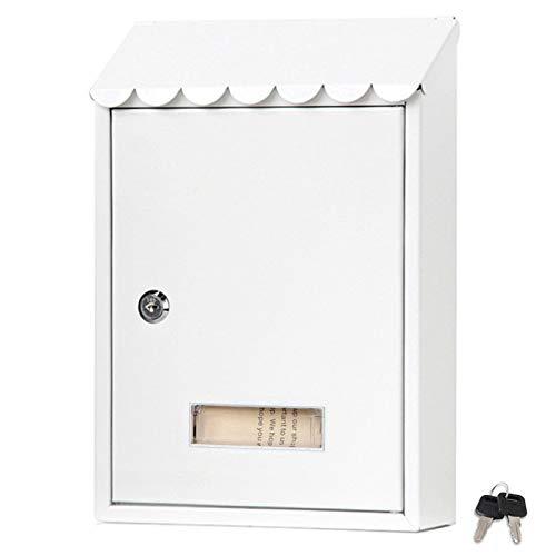 LXLA Briefkasten Weißer Briefkasten An Der Wand, Abschließbarer Metallbriefkasten mit 2 Schlüsseln und Sichtfenster, Postfächer für Außen/Haustür/Garage/Schule