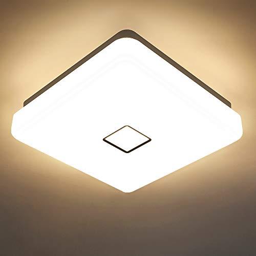 Onforu 24W LED Lámpara de Techo Cuadrado, IP65 Impermeable LED Plafón 2100LM para Salón Cocina Dormitorio Baño Pasillo Habitacion, Igual al 220W Luz Interior Techo 5000K Blanco Frío Moderna