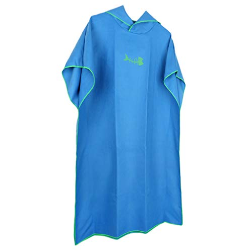 MagiDeal Badetuch Poncho Handtuch Bademantel mit Kapuze Kapuzenhandtuch für Herren Damen - Blau