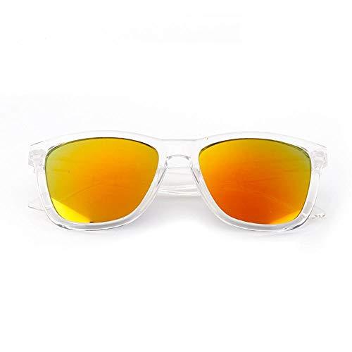 HAOMAO Mujeres/Hombres Lente de Revestimiento de Espejo Vintage Gafas de Sol con Montura Transparente Gafas Deportivas al Aire Libre Transparente