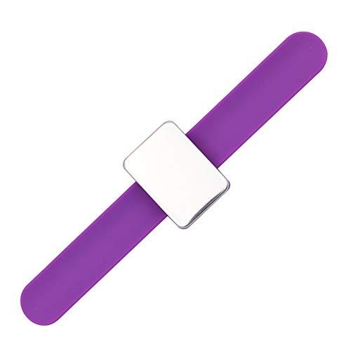 Moligin - Soporte magnético para pasador cuadrado con correa de silicona para muñeca, color morado