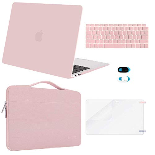 MOSISO MacBook Air 13 inch Case 2020 2019 2018 Release A2179 A1932, Plastic Hard Shell&Sleeve Bag&Keyboard Cover&Webcam Cover&Screen Protector Compatible with MacBook Air 13 inch Retina, Rose Quartz