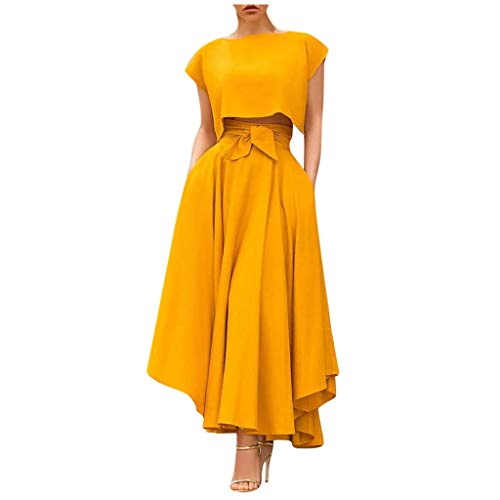 iYYVV Women's Fashion Spring Summer Casual Elastic Solid Color Swing Flowy Long Skirts Yellow