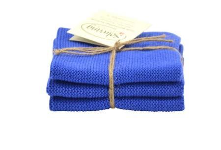 Solwang Wischtücher, 3er Set blau, gestrickt, 100{2fb8b478a7babd82872e0a780caf32735b931d4ce0bdf0648a8c331fa6c72c2a} Öko-Tex Baumwolle, ca. 25x25 cm, Wischlappen, Baumwolle Putzlappen Edelstahl