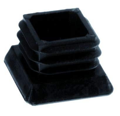 4 tapones para pies con superficie de suelo ampliada, plástico PE, color negro (25 x 25 mm)