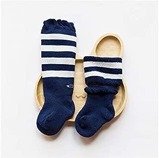 Lovely Socks 3 Pairs Children Cotton Socks Kids Autumn and Winter Terry Long Tube Socks (Grey) Newborn Sock (Color : Navy)