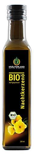 Kräuterland Bio Nachtkerzenöl, BIO-zertifiziert, kaltgepresst, 100% naturrein, 250ml, Speiseöl in Gourmetküche, Naturkosmetik Haut- und Haarpflege, Massageöl(250ml)