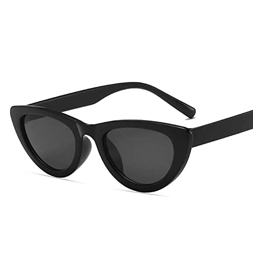 TYOLOMZ Gafas de Sol de Ojo de Gato para Mujer Gafas de Sol Triangulares Vintage para Mujer Marco Negro pequeño