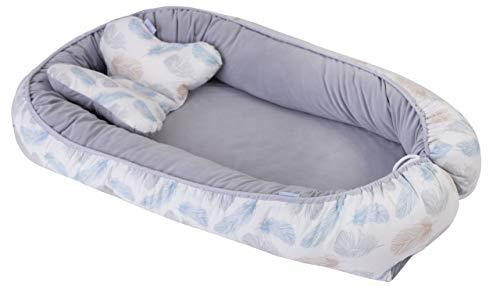 Cocon Réducteur + Oreiller Papillon Baby Nest pour bébé de lit Bébé de 0 à 8 mois Réversible 90 cm x 50 cmNid Pod Cocoon Grey Gris avec des Plumes