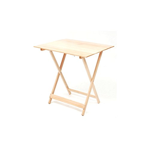 FRASM Tavolo tavolino pieghevole richiudibile legno naturale 77x60 cm campeggio casa regolabile in altezza colore naturale