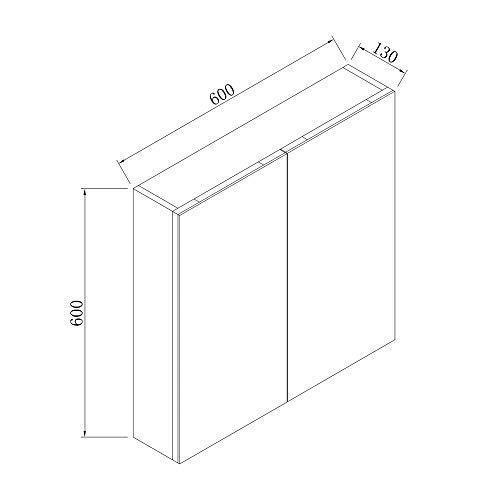 AICA Spiegelschrank Weiß 60 cm breit Wandspiegel Hängeschrank mit DREI Schichte 3