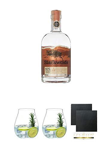 Blackwoods Vintage Dry Gin 60% 0,7 Liter + Gin Tonic Glas - 5414/67 + Gin Tonic Glas - 5414/67 + Schiefer Glasuntersetzer eckig ca. 9,5 cm Ø 2 Stück