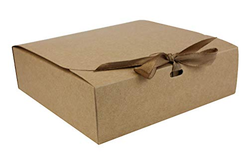 Emartbuy Confezione da 12 Confezione Regalo a Forma Quadrata, 16.5 cm x 16.5 cm x 5 cm,Assemblaggio Facile, Scatola Kraft Marrone Con Fiocco in Nastro