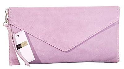 Italian Suede Leather Hand Made Envelope Design Clutch, Wrist, Shoulder or Crossbody Bag. Branded Protective Storage Bag