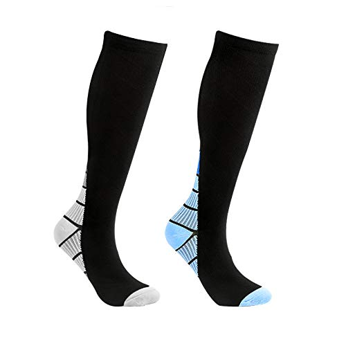 Calcetines de compresión para mujer, para hombre, medias de compresión, medias altas para mujer, calcetines de capacidad para hombre, para deporte, ciclismo, viaje en avión, 2 unidades, bicolor, S-M
