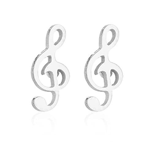 Pendientes de tuerca de estilo antiguo vintage con símbolo musical para las mujeres de acero inoxidable de arte de la música para los accesorios del estudiante