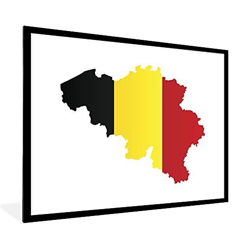 Poster mit Rahmen - Eine Illustration von Belgien in den Farben der Flagge - fotolijst zwart met witte passe partout 60x80 - 80x60 cm