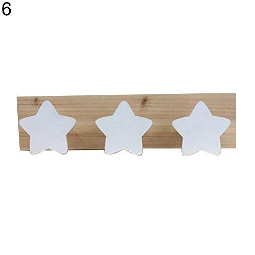 Steellwingsf - Colgador de madera para pared con diseño de estrella de conejo (3 ganchos), madera, 6#, talla única