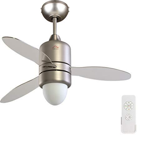 DCG Ventilatore a soffitto Dcg VECRD65TL telecomando luce lampada 3 pale trasparenti 107cm