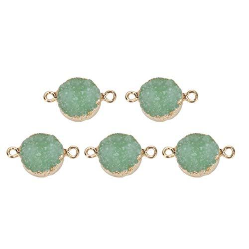 SUPVOX 5 pçs pingente de resina brilhante pingente conector DIY pingente pendente pendente para pulseira colar joias (verde claro)