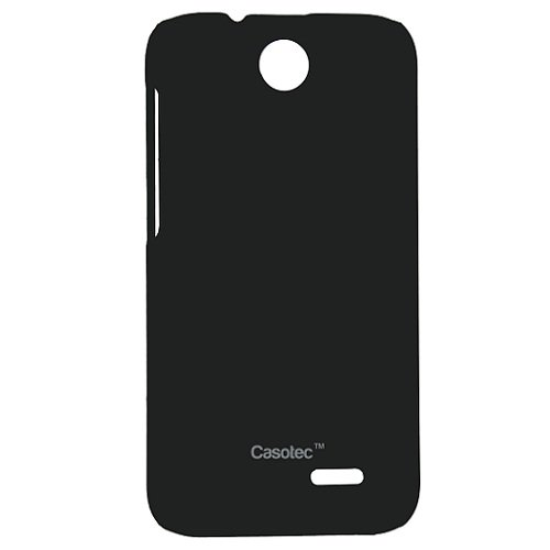 Casotec Ultra Slim Hard Shell Back Case Cover w/Screen Protector for HTC Desire 310 - Black