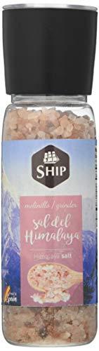 SHIP - Molinillo de Sal del Himalaya en Formato de Bote con 390 gramos - Condimento Culinario Original de España - Ofrece una Composición Alta en Cloruro de Sodio