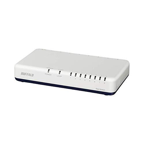BUFFALO Giga対応 プラスチック筐体 AC電源 8ポート LSW6-GT-8EP/WH ホワイト スイッチングハブ マグネット...