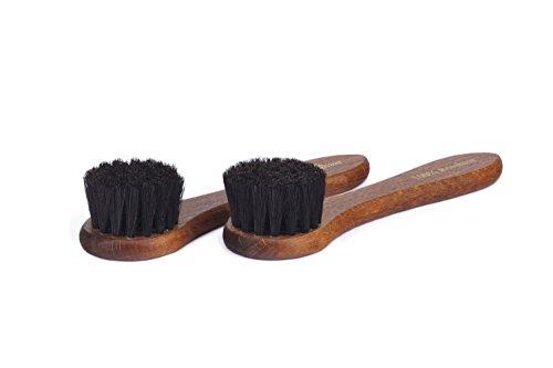 Langer & Messmer Set de 2 cepillos con 100% cerdas de crin de caballo para la limpieza y el cuidado de zapatos de piel (negro/negro)