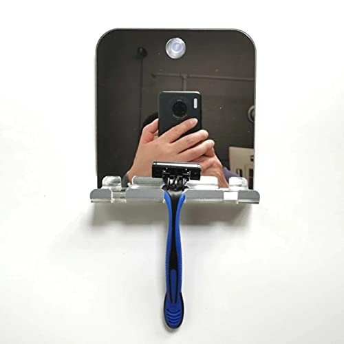 Square 2021 Anti-fog Anti-fall Bathroom Mirror Hanging Razor Toothbrush Mirror Fogless Shower Makeup Mirror For Bathroom Dressing Table
