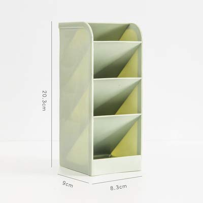 High Capacity Pen Holder Pencil Pot Box Case Makeup Brushes Storage Desk Organiser Container Stationery Decor Storage (Green, L)