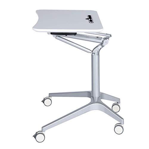 Escritorio de Pie Móvil para Ordenador Portátil Mesa Auxiliar de Sofa de Altura Ajustable 71-47 cm Soporte Laptop con Ruedas de Bloqueo,White