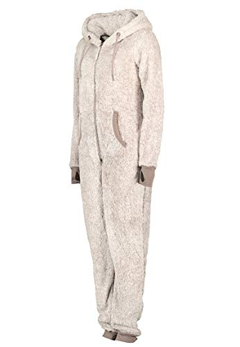 Eight2Nine Damen Jumpsuit aus kuscheligem Teddy Fleece mit Ohren, hellgrau - 4