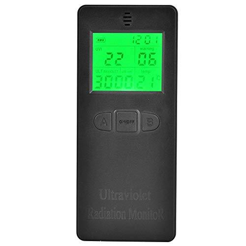 Tragbarer LCD UV Strahlungsdetektor, digitales UV Messgerät für Heim, Büro, Innen und Außen mit Temperaturanzeige