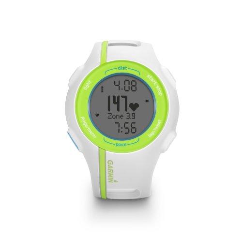 Garmin Forerunner 210 HRM - Reloj GPS con monitor de ritmo cardíaco, color blanco, verde y azul