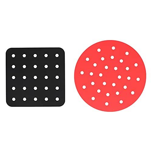 LZKW Doublure de friteuse, Tapis de friteuse en Silicone Pratique et Facile à Utiliser pour Panier à friture pour cuiseur Vapeur en Bambou(Black Square + Red Circle)