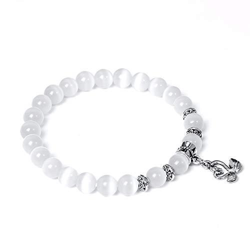 dingtian Bracelet Women Bracelets Natural Opal Bracelet White Cat Eye Crystal Beads Bangle SwanElephant Charm Pendant For Women Jewelry