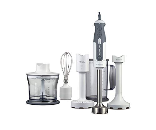 Kenwood Hand Blender, Anti-splash, Mixer includes 5 Attachments 0.5 L Chopper, Soup & Masher Attachment, Whisk and 0.75L BPA-free Plastic Beaker, 800 W, HDP406, White Silver