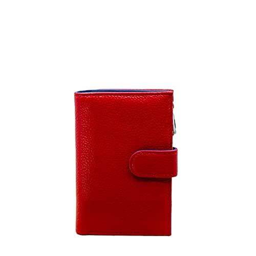 MARANT - Cartera organizador compacto de piel con clip con monedero con cremallera., rojo, S