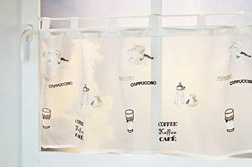 Kamaca Bistrogardine Küchengardine Fertiggardine Kaffeevielfalt weisses Voile mit Motiven rund ums Thema Kaffee (H/B 45x115) Scheibengardine