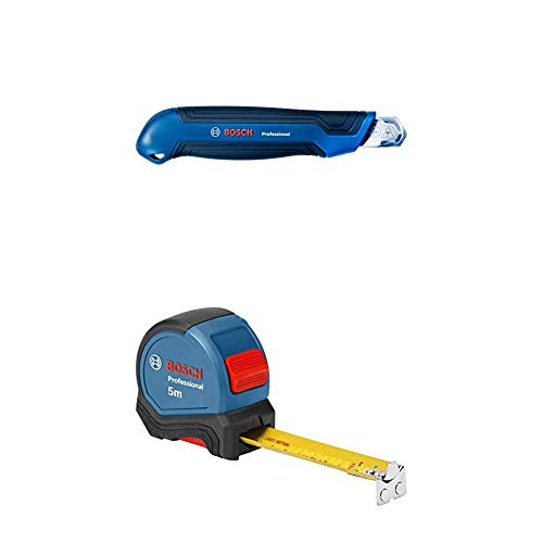 Bosch Professional Cutter Messer (18mm Klinge) + Maßband 5 m (Einhandbedienung, Gürtelklemme, Magnethaken, 2 Stopp-Tasten, 27 mm Nylon-Stahlband)
