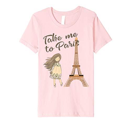 Kids Take Me To Paris Eiffel Tower Distressed Paris T Shirt 10 Pink