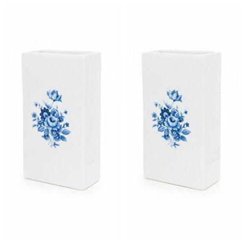 Abc_baño Humidificador de Porcelana Decorada Flor Azul 2 Unidades