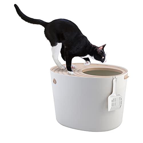 Iris Ohyama, Lettiera per gatti con scanalata, entrata superiore e pala - Top Entry Cat Litter Box - PUNT-530, plastica, bianco, 50, 8 x 35, 5 x 35, 5 cm