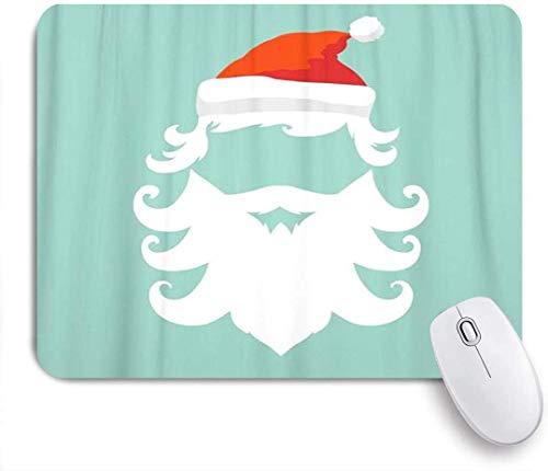 Maus Matte Mauspad Bart Weihnachtsmann Silhouette Hipster roter Hut Weihnachten Weihnachten maßgeschneiderte Kunst Mauspad rutschfeste Gummibasis für Computer Laptop Schreibtisch Zubehör