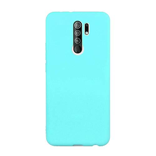 cuzz Custodia Xiaomi Redmi 9+{Film di Vetro temperato}Silicone TPU Cover Morbida Protettiva Custodia Ultra Sottile Leggero Cover-Blu Chiaro