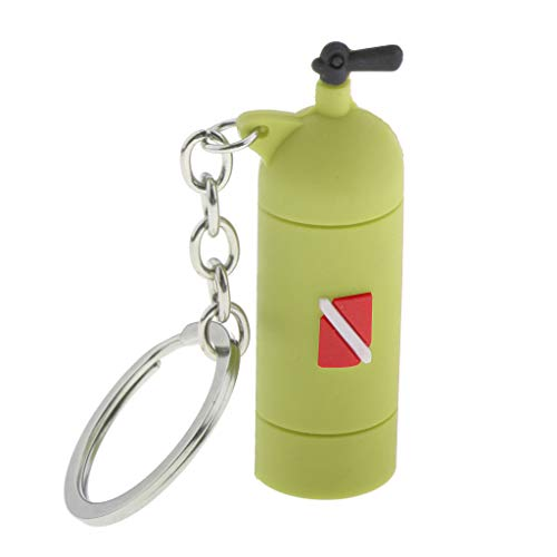 Hellery Diving Tank Key Novelty Diving Air Cylinder Key Charm - Green