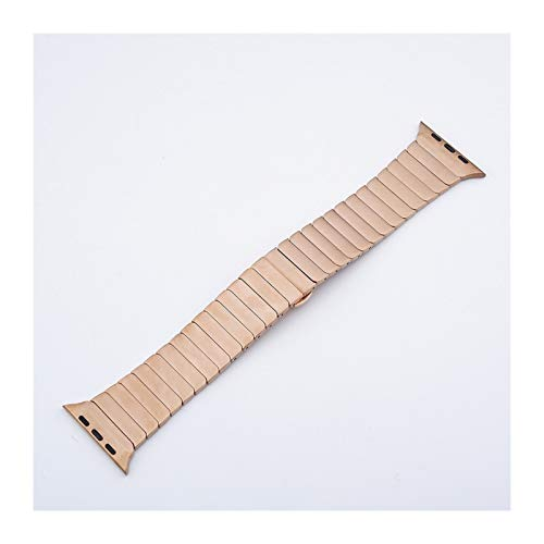Correa de Acero Inoxidable Aplicar a Apple Watch Band 44 mm / 42mm Correa Layury Link Brazalet Bebet Iwatch Series 5 3 4 Band 40mm 38mm 44mm (Band Color : Rose Gold, Band Width : 38mm or 40mm)