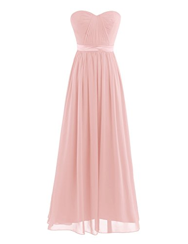 YiZYiF Women Chiffon Pleated High-Waisted Empire Bridesmaid Dress Long Evening Prom Gown Pearl Pink 12